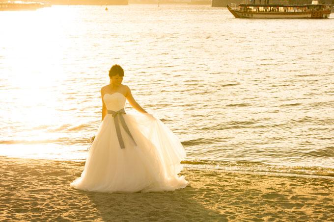 お台場でのサンセットフォトは花嫁の美しいフォトウェディングが残せる
